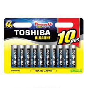 סוללות אלקליין TOSHIBA בגודל AA/AAA אריזה של 10 יחידות