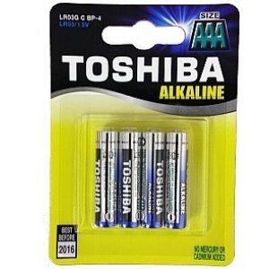 סוללות אלקליין TOSHIBA בגודל AA/AAA אריזה של 4 יחידות